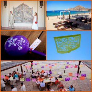 Chris & Christina maracas and Papel picado hand made for their Cabos Wedding at Momentos Los Cabos
